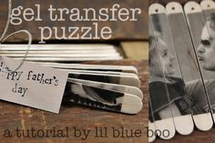 Easy photo project: Gel Transfer Puzzle via lilblueboo.com