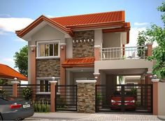 House Design Pictures Mhd 2012004 House Exterior Philippines House Design Contemporary House Elevation Modern Designs For House India Small And Simple House Design With Two Bungalow Haus Design, Modern Bungalow House, Modern House Plans, Small House Plans, Bungalow Designs, Two Story House Design, Simple House Design, House Front Design, Modern House Design