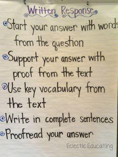 Written Responses - Open Ended Responses - Extended Responses