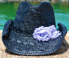 Black Cowgirl Hat with Lilac Rosettes by puapapale on Etsy, $30.00