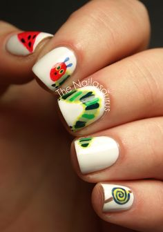Hungry caterpillar nails!  -The Nailasaurus  (I would never actually do this, but I am obsessed with the Very Hungry Caterpillar in a nostalgic way)