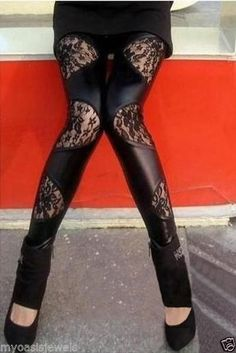 Fashion Leggings Legging Tights Pants Black Lace Wet Look Punk Gothic Clubwear #Unbranded