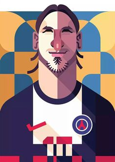 """Zlatan Ibrahimovic"", soccer player, (2016) - Computer Illustration by Daniel Nyari (b. 1985, Romanian/New York)."