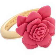 Marc By Marc Jacobs Rubberized Jerrie Rose Ring - Bright Rose ($41) ❤ liked on Polyvore featuring jewelry, rings, accessories, rubber band rings, flower band ring, band rings, letter jewelry and letter rings