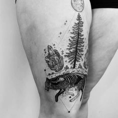 "8,942 Likes, 51 Comments - Pony Reinhardt Tattoo (@freeorgy) on Instagram: ""Timber wolf decaying under the full moon, Douglas fir growing from its grave, with quartz. Thanks…"""