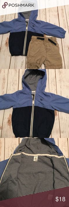 Toddler Boy Carter's Windbreaker and Kaki Shorts Perfect little set in EUC. Carter's brand sized 12 months for both per tags. Zipper works great on windbreaker. Material on outside is a windbreaker type material and the inside is soft like a Sweatshirt. Includes Kaki shorts. Pair with your favorite tee shirt and your little man is good to go. Smoke free home. Carter's Matching Sets