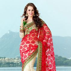 Red and Off White Net Brasso and Net Saree with Blouse