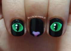 elusorynails:  Another cat nail art.