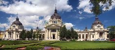 Budapest, Hungary - in City Park-Szechenyi Thermal Bath- Built Architect Gyozo Czigler (if You go in to bath never want to come out so amazing! Great Plains, Central Europe, Old Buildings, Park City, Santorini, Barcelona Cathedral, Taj Mahal, Around The Worlds, Mansions