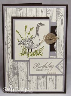 Stampin' Sarah!: Wetlands Birthday Greetings. Stampin' Up! Wetlands stamp set with Hardwood Background. Shop online for Stampin' Up! products at: www.stampinsarah.stampinup.net.