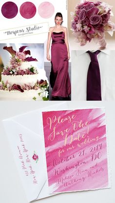 Sangria * Wine, Mauve, Dusty Pink Wedding Colors - Custom Save the Dates, Unique Wedding Invitations & Personalized Stationery