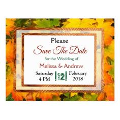 Fall Leaves Autumn Wedding Save the Date Postcard - postcard post card postcards unique diy cyo customize personalize