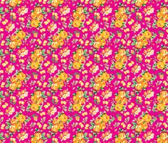 Dusty Pink Summer Roses fabric by sixteenstitches on Spoonflower - custom fabric