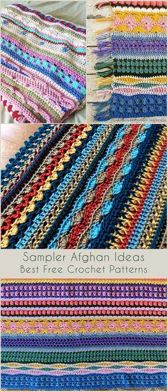 Scrap Yarn Crochet, Easy Crochet Stitches, Easy Crochet Blanket, Crochet Quilt, Free Crochet, Crochet Blankets, Baby Blankets, Crochet Sampler Afghan Pattern, Baby Afghan Patterns