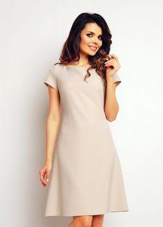 Sukienka trapez beżowa krótki rękaw fashion4u.pl