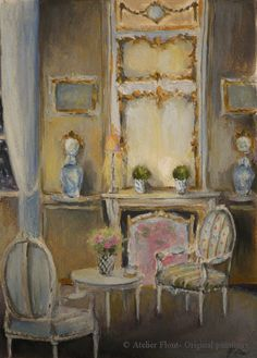 French Interior Louis xvi drawing room in winter by  Helene Flont