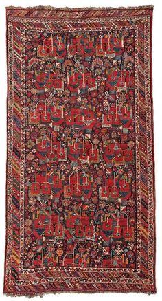 Persian Sirjan Afshar rug, with gol farangh design, circa 1870