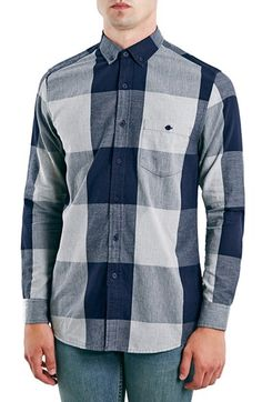 Free shipping and returns on Topman Slim Fit Herringbone Buffalo Check Shirt at Nordstrom.com. Bold Buffalo checks pattern a soft herringbone-woven shirt tailored in a slim, modern fit. A small-scale button-down collar tops the design, lending handsome, gentlemanly form.