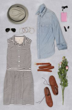 Escape to wine country in our striped sleveless shirtdress. Layer it with a boyfriend shirt and bangles. #LiveInLevis