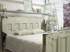 old shabby chippy doors for bed. I LOVE the ladders and shelf over the headboard.