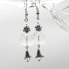 """Boucles d'oreilles bohêmes """"arabesques"""" - verre de bohême et métal argenté -"""