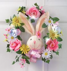 LED Easter Bunny Floral Door Wreath