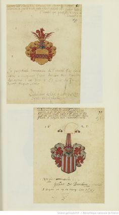 Album amicorum, avec blasons peints de différents élèves, la plupart allemands, anglais, flamands, hollandais, danois et suédois, de Pierre Baullain, maître d'armes à Angers (1613-1636).   Gallica