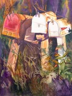 """Original watercolor painting titled """"Waiting"""" of a set of mailboxes from upcountry Maui not far from Oprah's house. Country Mailbox, Rural Mailbox, Art Pictures, Art Pics, Landscape Paintings, Giclee Print, Watercolor Paintings, Waiting, Mail Boxes"""