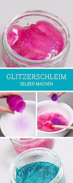 DIY-Anleitung für Kinder: Schleim mit Glitzer selbermachen / funky and trendy slime tutorial with glitter via http://DaWanda.com