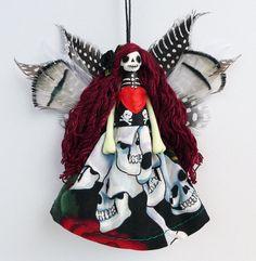 Day of the Dead Christmas fairy ornament handmade peg by Skullbag