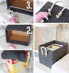 Cute Storage Boxes from Old Boxes and Sweaters - Korb und Kiste & Wohnaccessoires 2020 Diy Home Crafts, Diy Home Decor, Room Decor, Decoration Crafts, Recycled Home Decor, Cute Storage Boxes, Storage Baskets, Storage Ideas, Craft Storage