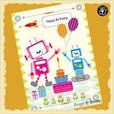 Eine Illustration für eine Geburtstagsgrußkarte . Happy Birthday!