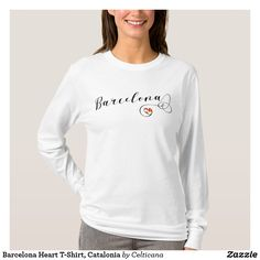 Barcelona Heart T-Shirt, Catalonia. This design is available on a wide range of apparel including t-shirts and hoodies, and accessories and homewares including ties, pillows and mugs. Show your pride for Barcelona and Catalunya and Wear The Places You Love!
