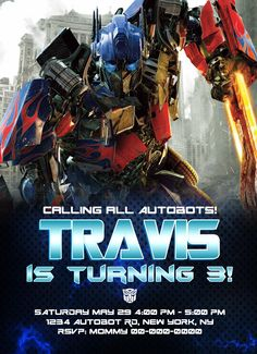 Transformers Birthday Ticket Invitation Instant Download