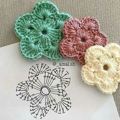 Crochet Mini Bead Flower String Tutorial-Video: How to crochet flower with bead? Flores Tejidas charts for Flox Carnations & Freesia Crochet Cherry Blossom It's Spring and around us Everything is becoming alive. Foto s van de muur van crochet 382 foto s Crochet Motifs, Crochet Diagram, Crochet Chart, Crochet Squares, Diy Crochet, Crochet Doilies, Crochet Stitches, Crochet Symbols, Simple Crochet