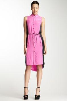 Silk Colorblock Shirt Dress