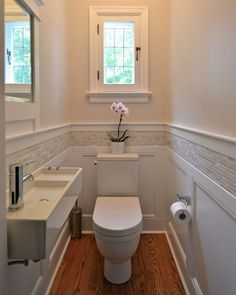 SMALL - Narrow  BATH & Sink / Wainscotting & Tile