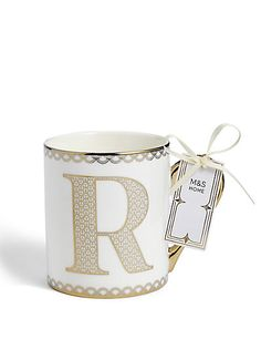 Add a splash of fun to your mornings or brighten up break times with a coffee mug from M&S Christmas 2016, Drinking, Coffee Mugs, Monogram, Lettering, Amp, Tableware, Gold, Gifts
