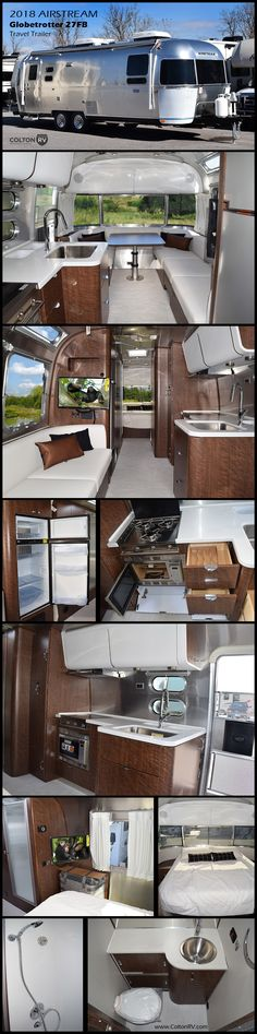 Travel Trailers The Globetrotter is a modern design enthusiast's […] Homes On Wheels school buses Truck Tailgate, Truck Camping, Camping Stuff, Airstream Interior, Truck Interior, Motorhomes For Sale, Trailers For Sale, Grand Design Rv, Airstream Travel Trailers