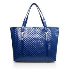 Gucci 309613 Nice Microguccissima Patent Leather Tote Blue