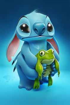 Stitch and frog by Sasha Vinogradova, via Behance. Of all the Disney movies I get most emotial watching Lelo and Stitch. His loneliness strikes deep.