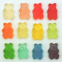 white gummies are always the best. but some of these bear colors i've never seen before (like the bright blue!)