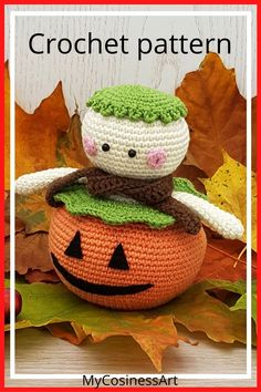 Amigurumi halloween pattern. The level of the pattern is easy. The finished product is 4.5 inches / 11.5 cm tall. (Size of the toy may be different, and it depends on the yarn and crochet hook you use). #crochetpattern #amigurumipattern #pumpkin #mycosinessart