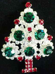 VINTAGE SIGNED HOBE RHINESTONE CHRISTMAS TREE BROOCH PIN RARE BEAUTIFUL in Jewelry & Watches, Vintage & Antique Jewelry, Costume | eBay