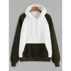 Color Block Raglan Sleeve Pocket Hooded Sweatshirt ($27) ❤ liked on Polyvore featuring tops, hoodies, long hoodies, white tops, raglan sleeve hoodie, sleeve hoodie and raglan hoodie