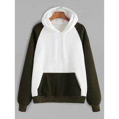Color Block Raglan Sleeve Pocket Hooded Sweatshirt (€25) ❤ liked on Polyvore featuring tops, hoodies, raglan hoodie, white hoodies, white tops, long sleeve tops and white hooded sweatshirt