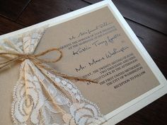 Lace and Twine Wedding Invitation Rustic by decadentdesigns