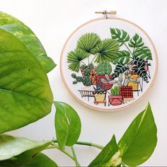 5 inch Potted Jungle Modern Hand Embroidery Hoop by SarahKBenning
