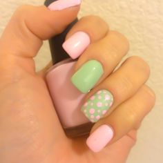 Pink & Mint pastel mani with polka dots ~ easy nail art ~ swatch colors: OPI's Mod About You & Sally Hansen's Mint Sorbet