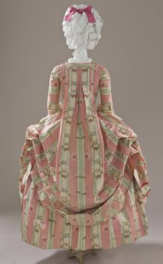 Woman's Dress and Petticoat (Robe à la française). Place of origin: Spain; Textile: France c. 1775 Silk Back 2